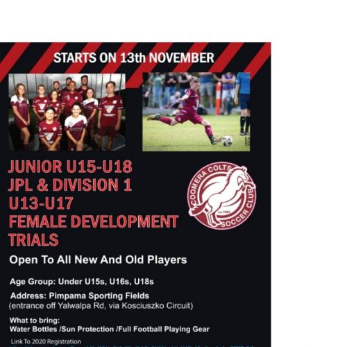U15's, U16's & U18's - JPL & Division 1, U13 - U17 Female Development Trials
